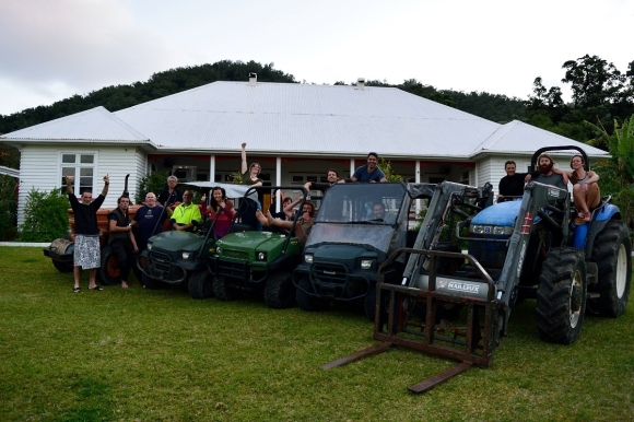 The happy team and fully functional vehicle fleet on Raoul Island.