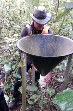 Paul Prendergast refits the protective cover over the stocking on seed trap.