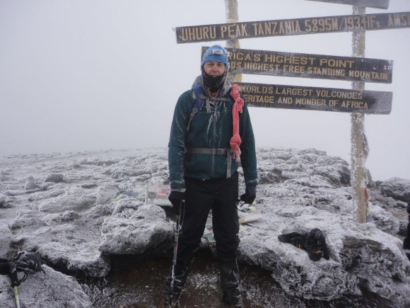 Bruce Parkes on top of Mount Kilimanjaro in January 2015.