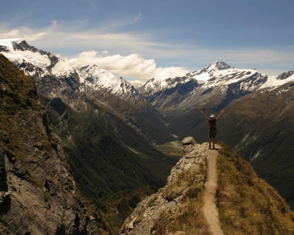 Don Herron's wife enjoying the view in Mount Aspiring National Park.