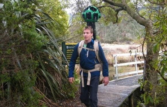 Matt Jenke, the Google Trekker on the Abel Tasman Coast Track.