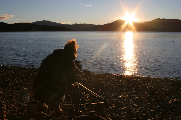 Laura filming for a doco in Marlborough Sounds.