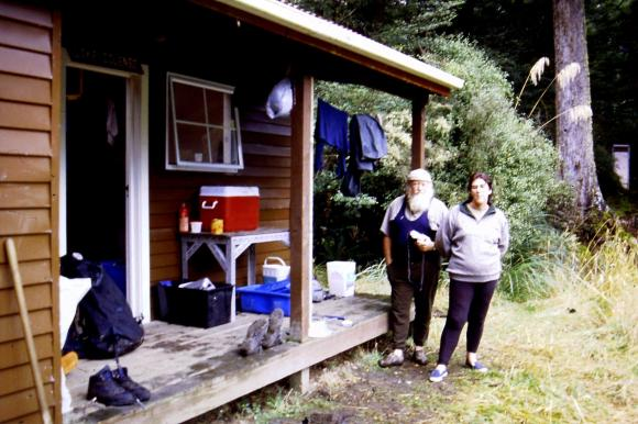 Henry and Alison Dorrian at Lake Colenso Hut circa 2005.