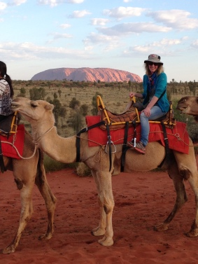 Riding a camel at Uluru