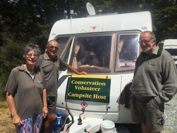 Ron and Maureen Cooper with Ken Bradley in their third year as volunteer campsite hosts at Cascade Creek.