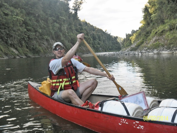 Peter in a canoe on the Whanganui River Journey.