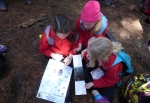 Te Mata School students learning about tracking tunnels at Cape Sanctuary.