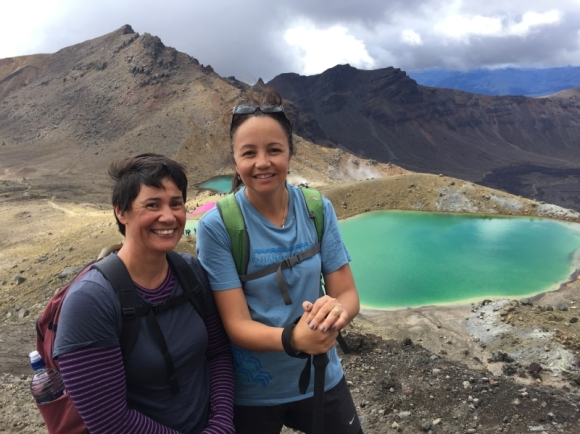 DOC Partnerships Director Nicki Douglas with Pou Tairangahau Huia Lloyd on the Tongariro Alpine Crossing.