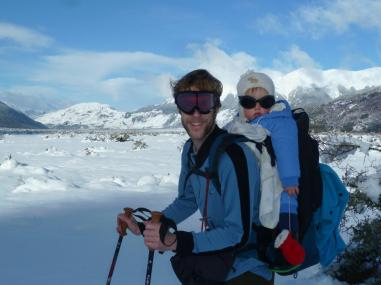 Asher and I out snow shoeing, enjoying a winter's day near home in Arthur's Pass.
