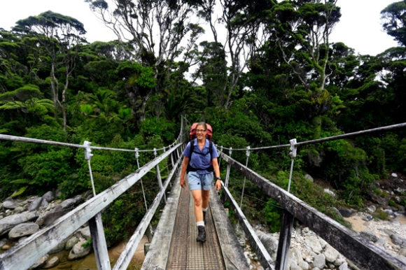 Anja crossing a bridge on the Heaphy Track.