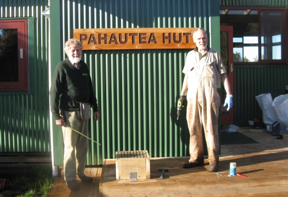dave-matthews-pahautea-hutWork colleagues over many years, Bruce Postill (left) and Dave at Pahautea Hut, atop Mount Pirongia.