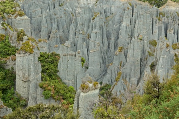 An aerial view of the Putangirua Pinnacles.