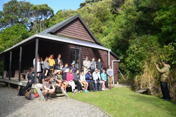 Group photo and blessing the historic Whare.