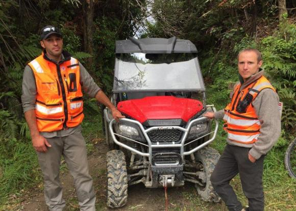 DOC had two rangers, Richard Shanks and Josh Penn from Pipiriki, on the track in one of our new light utility vehicles.