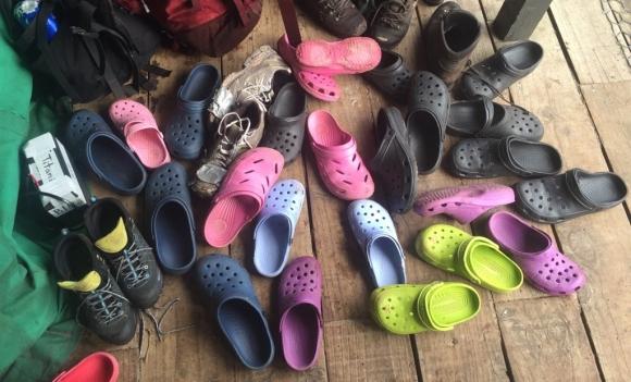 Crocs footwear on Whenua Hou.