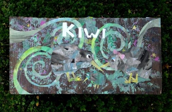 Sophia's winning kiwi collage.