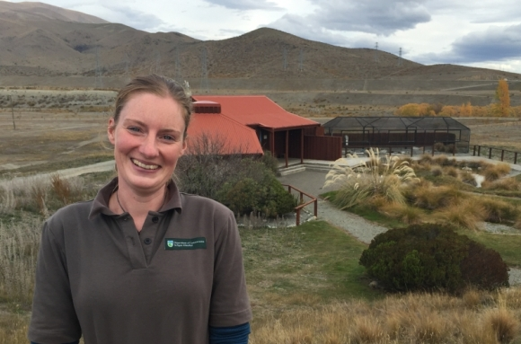 Lisa Brown in front of the black stilt rearing unit.
