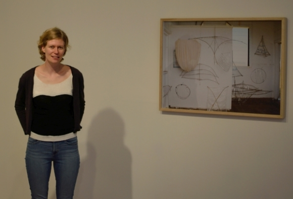Artist Eleanor Cooper in front of her work at The Physics Room in Christchurch.