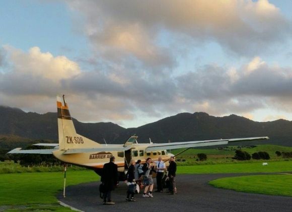 Plane on the Great Barrier Island airstrip.