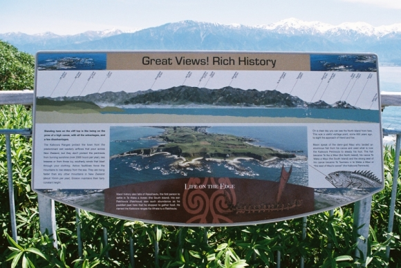 Geospatial data used on an interpretation sign at Kaikoura.