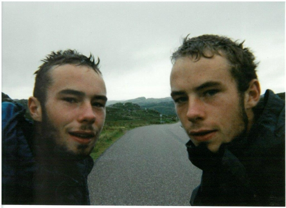 Sean and I in juvenile plumage, cycling around Scotland, 1999.