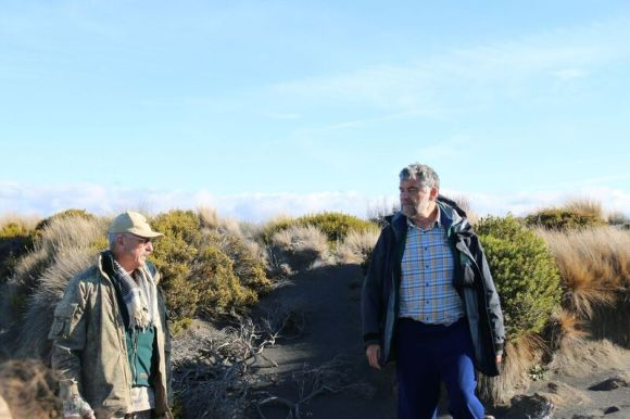 Major Patrick Hibbs and Mark Smale discussing the dunes. Photo: Michael Bergin.