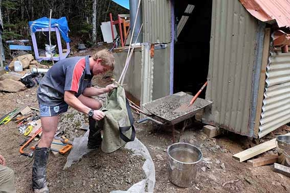 Working on Canterbury's Avoca Hut.