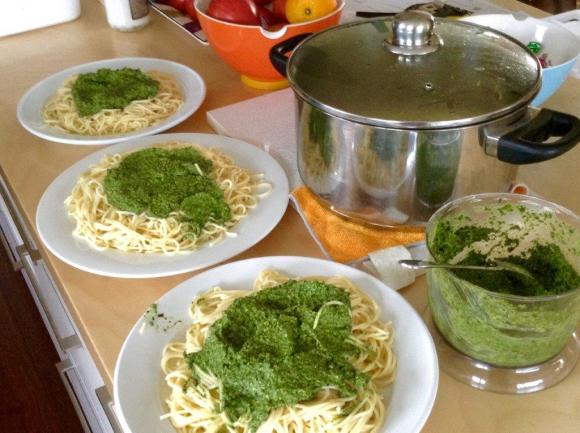 Homemade pesto sharing with friends.