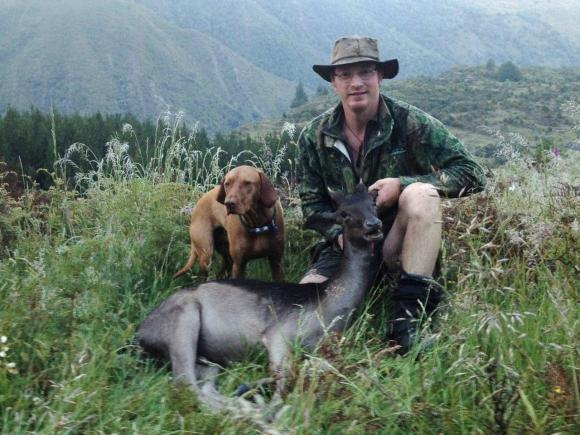 Ollie Harris hunting goats.