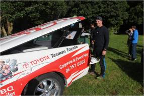 Tasman Toyota CEO James Crighton was on BBQ duty cooking up lunch for everyone with the purpose built BBQ trailer.