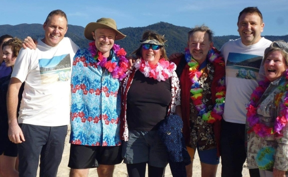 Well wishers came dressed for the beach. Photo Trish Grant.