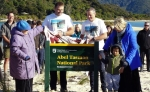 Unveiling the the Abel Tasman National Park sign.
