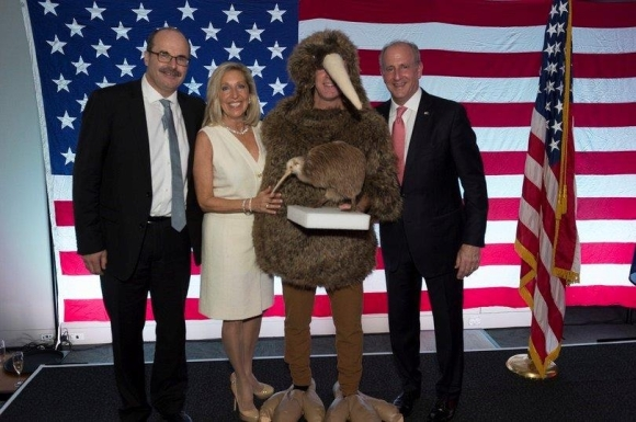 Posing with a 'kiwi' at the Fourth of July celebrations - Lou with US Ambassador Mark Gilbert and wife Nancy Gilbert. Photo courtesy of US Embassy/Ola Thorsen.
