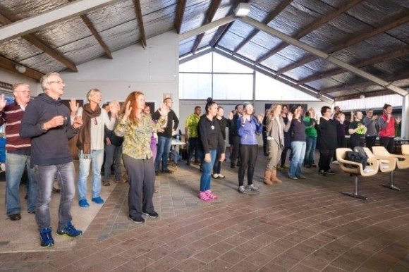 Learning traditional kapa haka. Photographer: Lauren Buchholz.