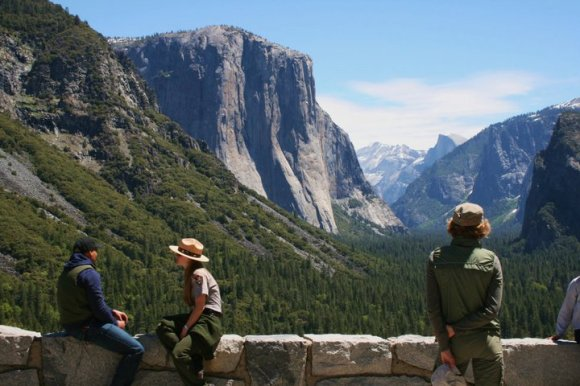 Admiring the scenery at Tunnel View, Yosemite National Park.