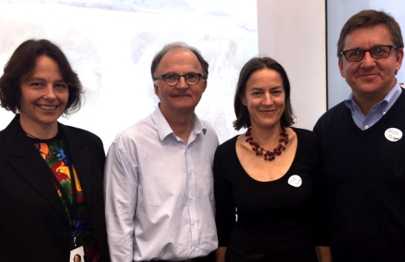 At the freshwater forum with The Nature Conservancy: DOC Freshwater Manager Rosemary Miller, TNC New Zealand Director Michael Looker, DOC Director (Aquatic) Hilary Aikman, Michael Reuter.