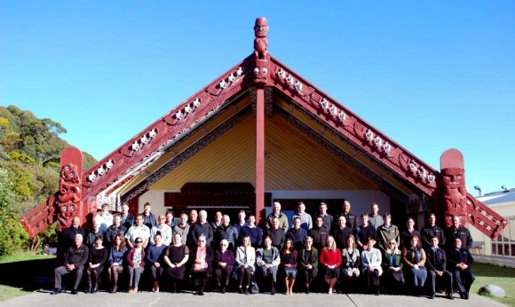Air New Zealand and DOC staff outside Whakatū Marae, Nelson.