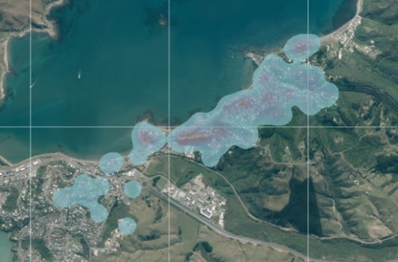 Map showing trap density in Plimmerton.