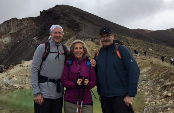 The U.S. Ambassador and Nancy Gilbert with DOC Director-General Lou Sanson on the Tongariro Crossing.