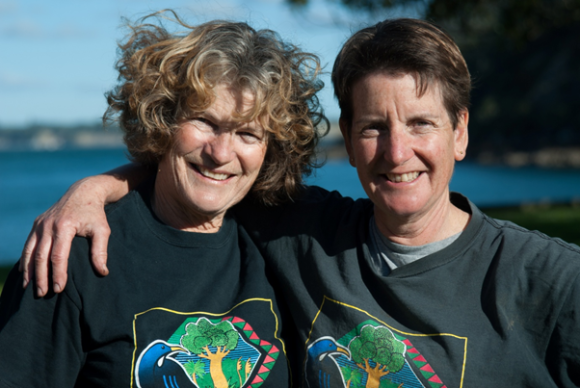 Bridget Winstone and Belinda Vernon on Motutapu Island.