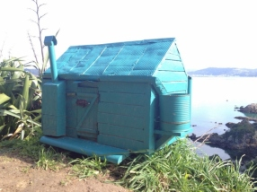 Small model DOC hut on Matiu/Somes Island.