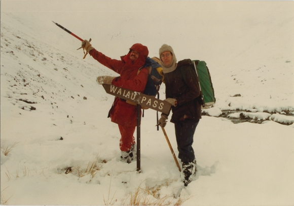 1983, Waiau Pass with my friend Chris Heaphy. Onwards and upwards