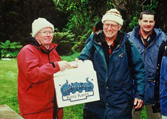 Brian Bell, Don Merton, Allan Munn and Geordie Newman at a black robin release on Pitt Island in the Chatham Islands in 2002.
