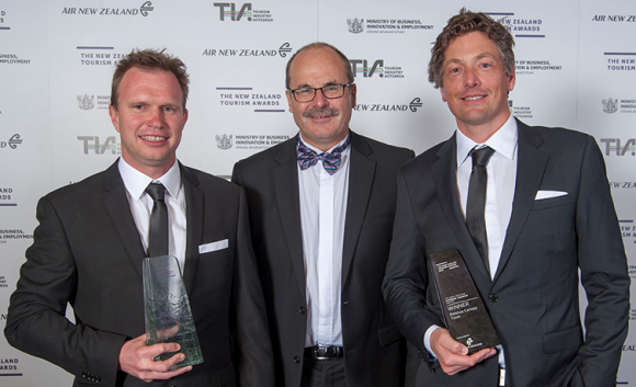 With Rotorua Canopy Tours' James Fitzgerald and Andrew Blackford at the awards.