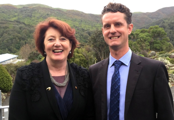 Hon. Maggie Barry and Predator Free Community Champion Kelvin Hastie at the launch. Photograph: Facebook/Maggie Barry MP