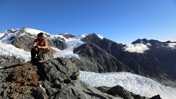 Looking down the Franz Josef Glacier Kā Roimata o Hine Hukatere while taking a break at Almer Hut