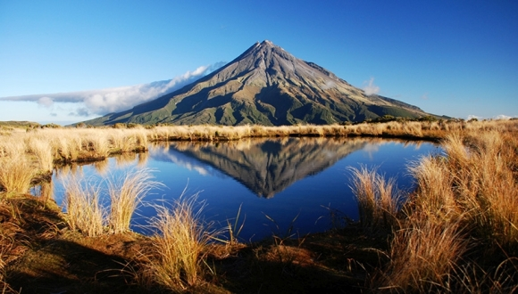 Mt Taranaki in the tarns. Photo: Kathrin and Stefan Marks | CC BY-NC-ND 2.0.