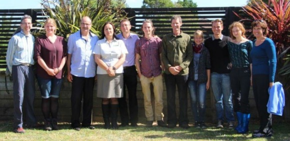 Operations Manager Diane Sanderson and Pupu Rangi Nature Sanctuary founder Octavian Grigoriu with international volunteers.