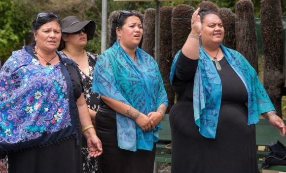Ngā Uri o Pania sings a waiata during the Maungaharuru-Tangitū gift-back ceremony. Photo: Lauren Buchholz