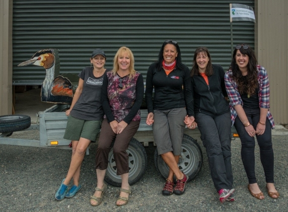 Team Grebe. Sinead Mulhern, Sue Streatfield, Pania Dalley, Wendy Newton and Phoebe Shaw. Photo: Toby Jones.